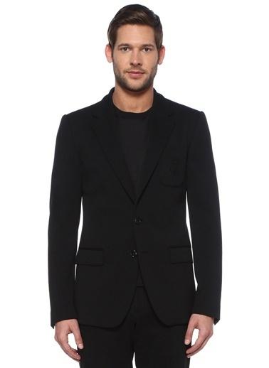 Dolce&Gabbana Dolce&Gabbana  Kelebek Yaka Logo İşlemeli Yün Ceket 101478907 Siyah